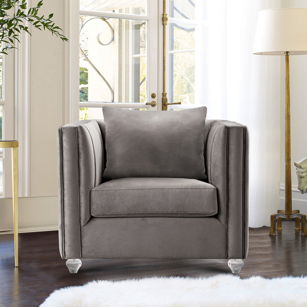 """Armen Living Emperor Contemporary Chair With Acrylic Finish, Beige Fabric """"Special"""""""
