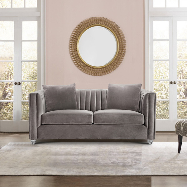 """Armen Living Emperor Contemporary Loveseat With Acrylic Finish, Beige Fabric """"Special"""""""