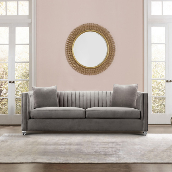 "Armen Living Emperor Contemporary Sofa With Acrylic Finish, Beige Fabric ""Special"""