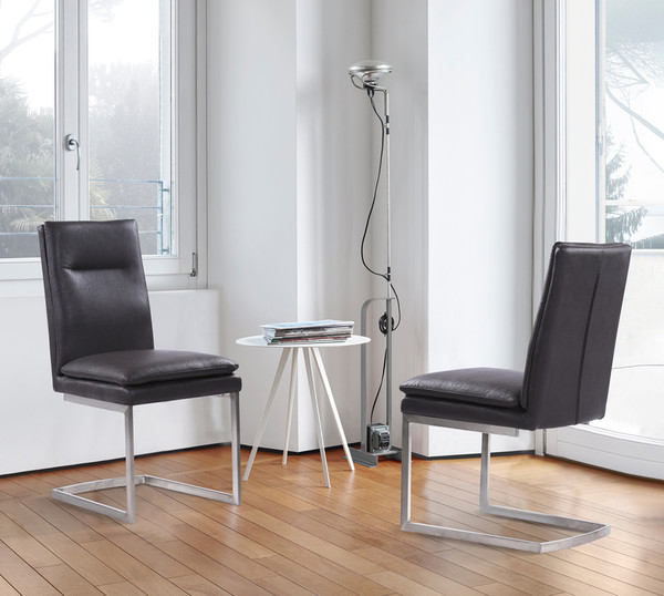 """Armen Living Fenton Contemporary Dining Chair With Grey Faux Leather - Set Of 2 """"Special"""""""