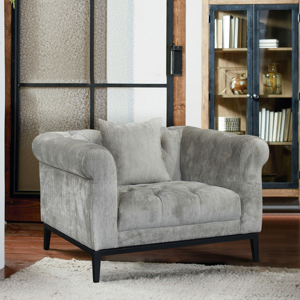 "Armen Living Glamour Contemporary Chair With Black Iron Finish Base ""Special"""
