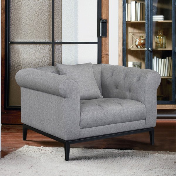 """Armen Living Glamour Contemporary Chair With Black Iron Finish Base And Grey Fabric """"Special"""""""