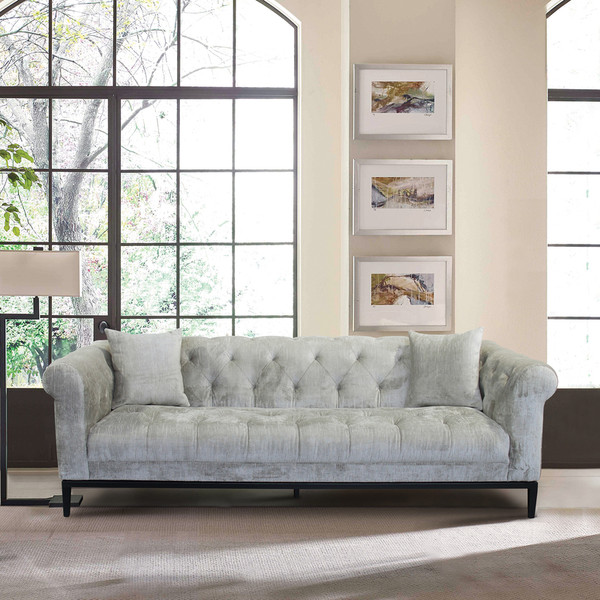 """Armen Living Glamour Contemporary Sofa With Black Iron Finish Base And Beige Fabric """"Special"""""""
