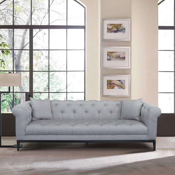 """Armen Living Glamour Contemporary Sofa With Black Iron Finish Base And Grey Fabric """"Special"""""""