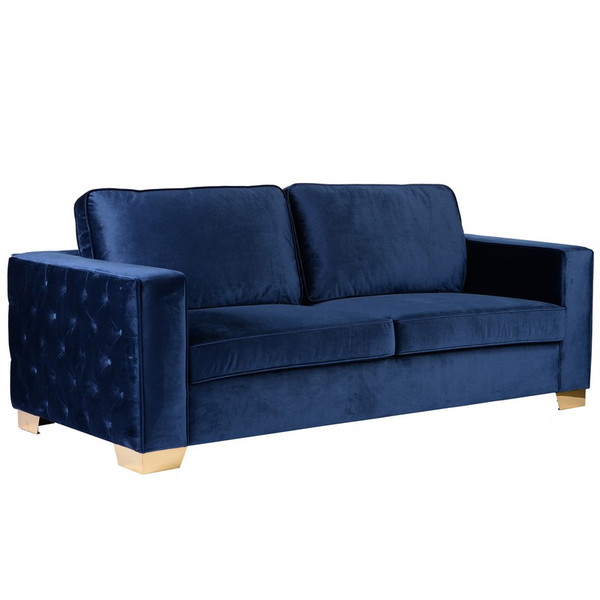 Armen Living Isola Sofa In Blue Velvet With Gold Metal Legs LCIS3BL