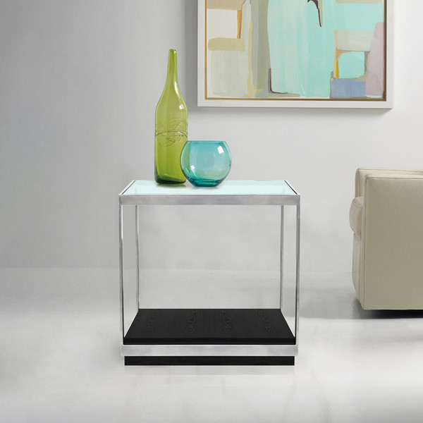 Armen Living Manchester Contemporary End Table With Polished Stainless Steel