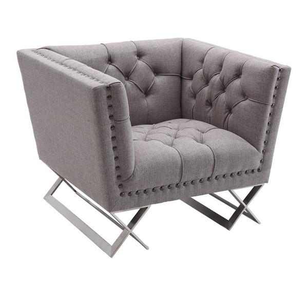 "Armen Living Odyssey Gray Tweed Sofa Chair - Brushed Steel - LCOD1GR ""Special"""