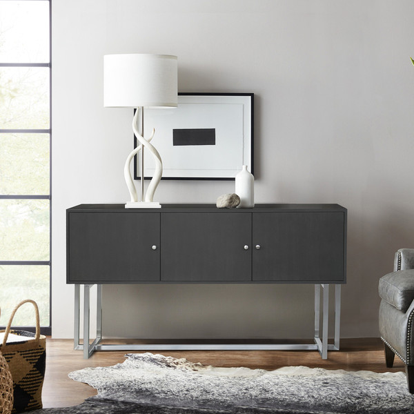 """Armen Living Prague Contemporary Buffet In Brushed Stainless Steel Finish LCPGBUGR """"Special"""""""