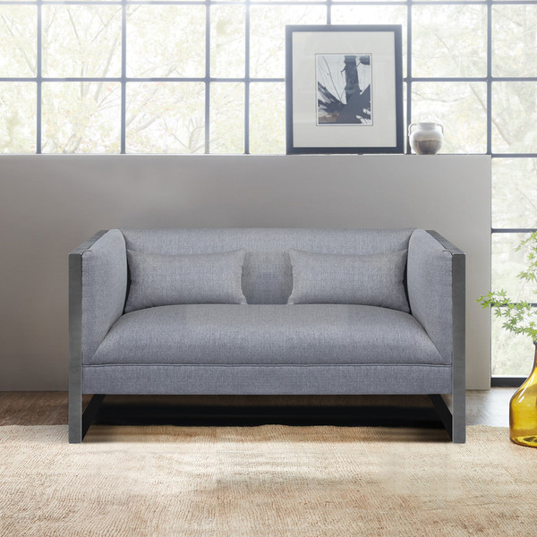 """Armen Living Royce Contemporary Loveseat With Polished Stainless Steel LCRC2GR """"Special"""""""