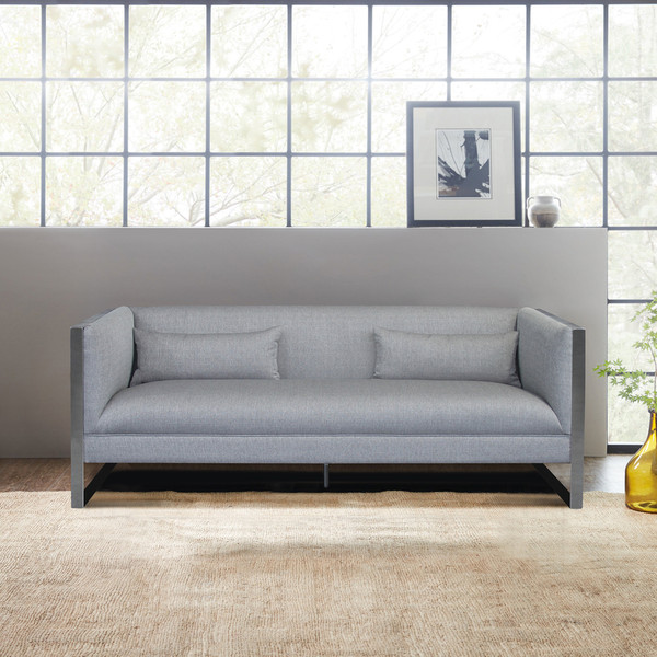 """Armen Living Royce Contemporary Sofa With Polished Stainless Steel And Grey Fabric """"Special"""""""