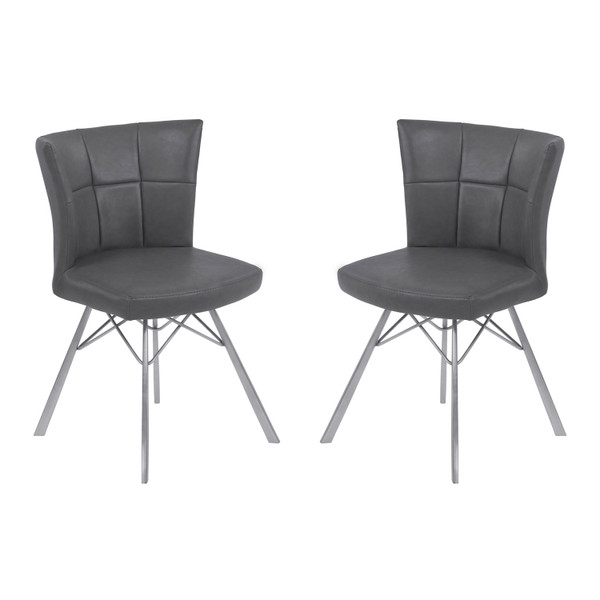 """Armen Living Spago Contemporary Dining Chair - Set Of 2 LCSPSIVGBS """"Special"""""""