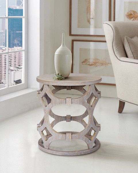 """Armen Living Tuxedo Round End Table With Gray Finish And Gray Top Lctulagr """"Special"""""""