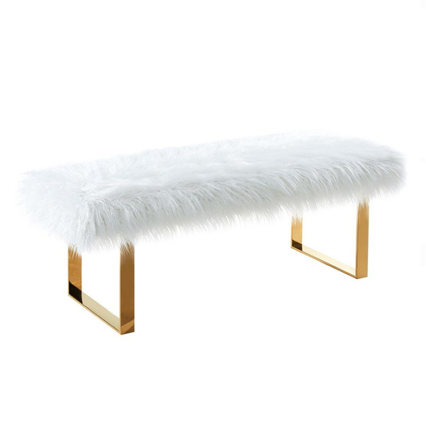 "Armen Living Zinna Contemporary Bench LCZNBEWH ""Special"""