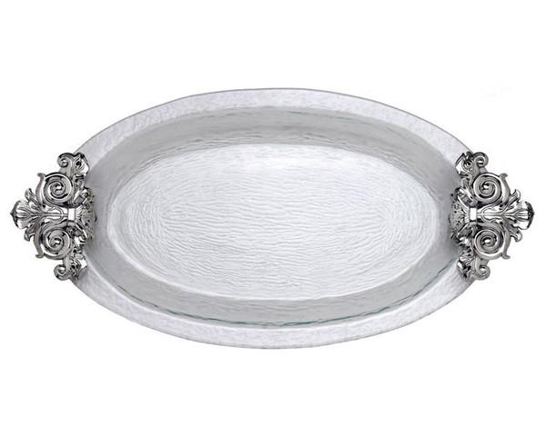 Arthur Court Fleur-De-Lis Glass Platter 102980