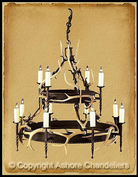 Ashore Round 2 Tier Lodge With Antlers Chandelier In Bronze CH-1018-WA
