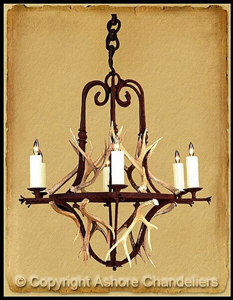Ashore 6 Light Banister With Antlers Chandelier In Bronze CH-2015-WA