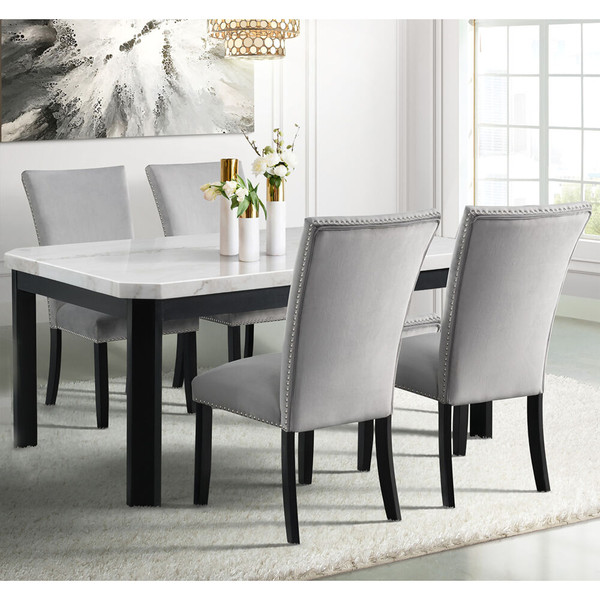Cambridge Solano Dining 5 Piece Dining Set - Table, 4 Fabric Side Chairs 982004-5PC-GRY