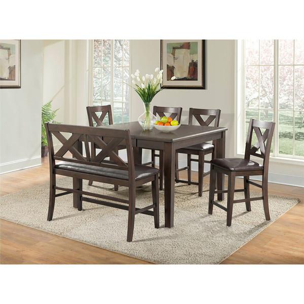 Cambridge Huntington 6 Piece Dining Set -Table, Faux Lthr Bench, 4 Faux Lthr Side Chair 982005-6PC-BRW