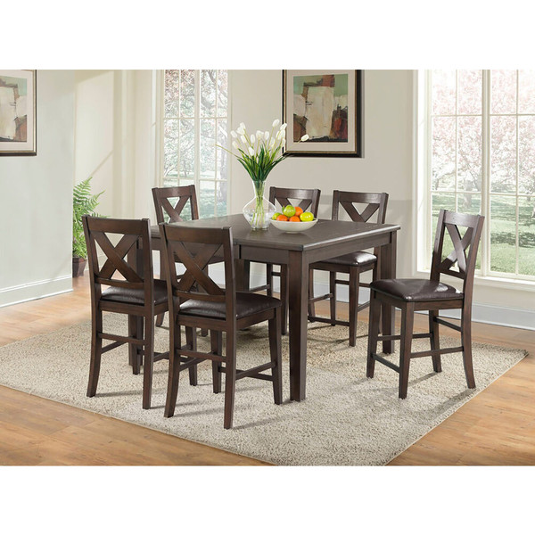 Cambridge Huntington 7 Piece Dining Set - Table, 6 Faux Leather Side Chairs 982005-7PC1-BRW