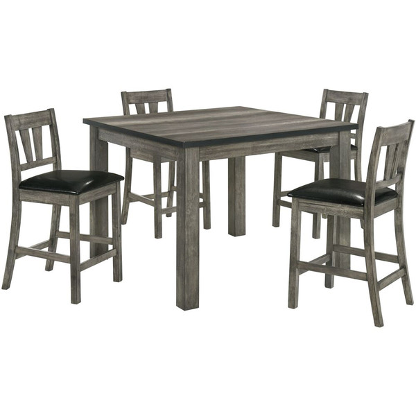 Cambridge 5 Piece Dining Set - Counter Height Table, 4 Faux Leather Chairs 982006-PU5PC-WG