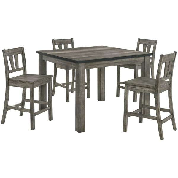 Cambridge 5 Piece Dining Set - Counter Height Table, 4 Wood Seat Chairs 982006-WD5PC-WG