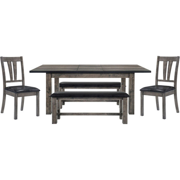 Cambridge Drexel Dining 5 Piece Set - 78X42X30H Table, 2 P/U Side Chairs, 2 Benches 99001-PU5PC2-WG