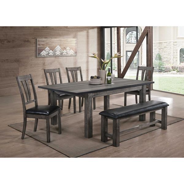 Cambridge Drexel Dining 6 Piece Set - 78X42X30H Table, 4 P/U Side Chairs, Bench 99001-PU6PC1-WG