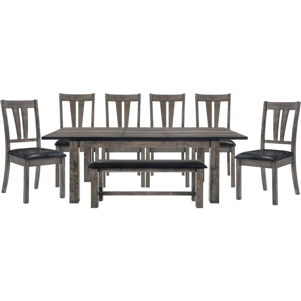 Cambridge Drexel Dining 8 Piece Set - 78X42X30H Table, 6 P/U Side Chairs, Bench 99001-PU8PC1-WG