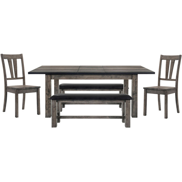 Cambridge Drexel Dining 5 Piece Set - 78X42X30H Table, 2 Wood Side Chairs, 2 Benches 99001-WD5PC2-WG