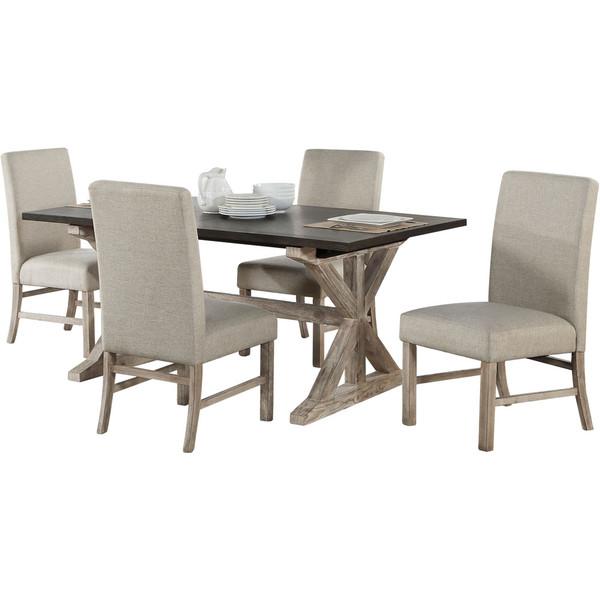 Cambridge Ellington 5 Piece Dining Set - Wood Trestle Table, 4 Fabric Chairs 99004-5PC-RUS