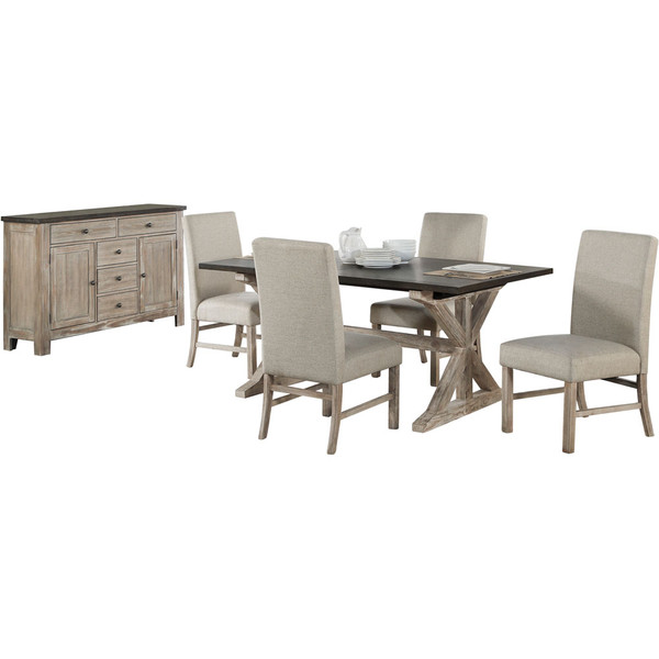 Cambridge Ellington 6Pc Dining Set - Wood Trestle Table, 4 Fabric Chairs, Sideboard 99004-6PC-RUS