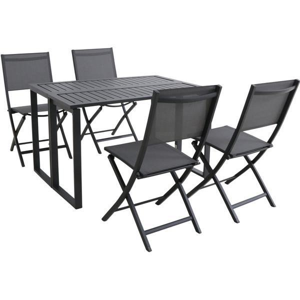 Hanover Conrad 5 Piece Dining Set - 4 Sling Foling Chairs And Folding Table CONDN5PCFD-GRY