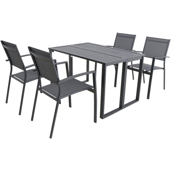 Hanover Conrad 5 Piece Dining Set - 4 Alum Sling Chairs And Folding Table CONDN5PC-GRY