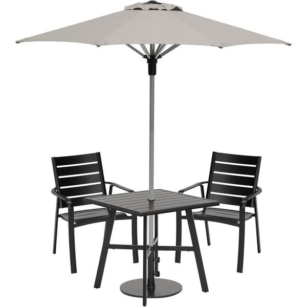 "Hanover Cortino 3 Piece Dining Set - 2 Slat Dining Chairs, 30"" Sq Slat Table, Umbrella & Base CORTDN3PCS-SU"
