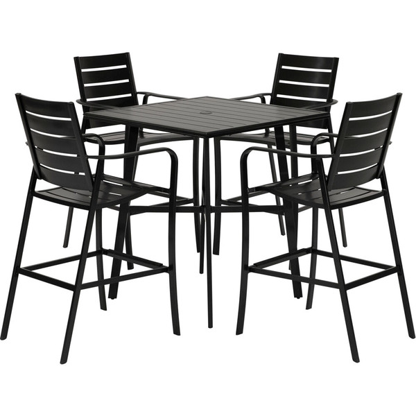 """Hanover Cortino 5 Piece Counter Height Dining: 4 Slat Counter Height Chairs, 42"""" Slat Table CORTDN5PCSBR"""