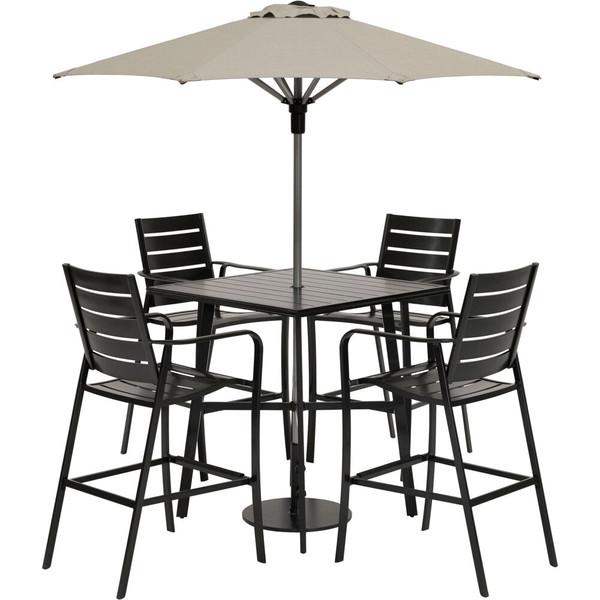 "Hanover Cortino 5 Piece Counter Height Dining: 4 Slat Chairs, 42"" Slat Table, Umbrella & Base CORTDN5PCSBR-SU"