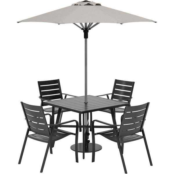 "Hanover Cortino 5 Piece Dining Set - 4 Slat Dining Chairs, 30"" Sq Slat Table, Umbrella & Base CORTDN5PCS-SU"