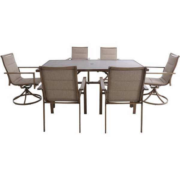 """Hanover Fairhope 7 Piece Dining Set - 4 Padded Sling Chairs, 2 Swvl Chairs, 74""""X40"""" Table FAIRDN7PCSW2-TAN"""