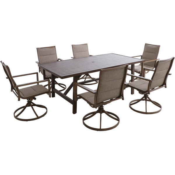 Hanover Fairhope 7 Piece Dining Set - 6 Swivel Chairs And 74X40 Tressle Table FAIRDN7PCSW6-TAN