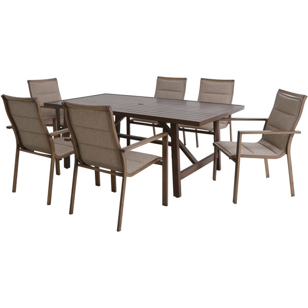 """Hanover Fairhope 7 Piece Dining Set - 6 Padded Sling Chairs And 74""""X40"""" Tressle Table FAIRDN7PC-TAN"""