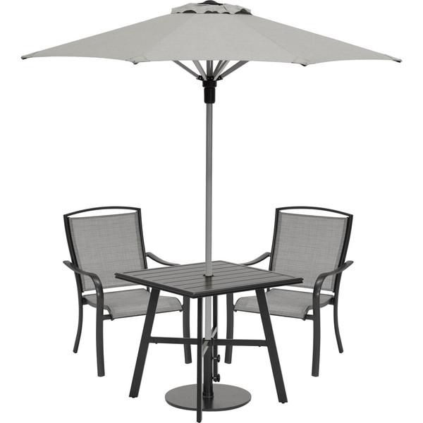 "Hanover Foxhill 3 Piece Dining Set - 2 Sling Dining Chairs, 30"" Sq Slat Table, Umbrella & Base FOXDN3PCS-G-SU"
