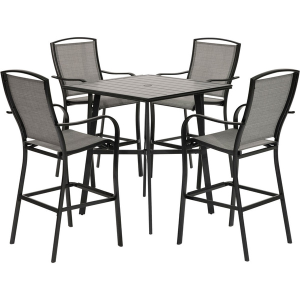"""Hanover Foxhill 5 Piece Counter Height Dining Set -4 Sling Counter Height Chairs, 42"""" Slat Table FOXDN5PCSBR-GRY"""