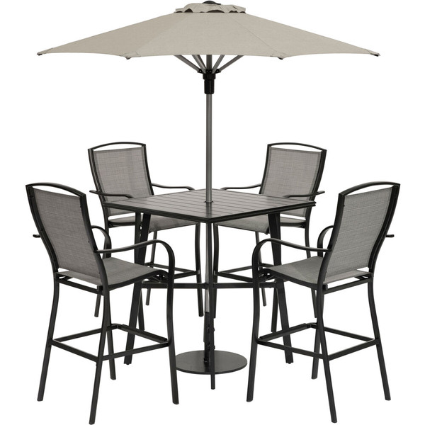 """Hanover Foxhill 5 Piece Counter Height Dining:4 Sling Chairs, 42"""" Slat Table,Umbrella & Base FOXDN5PCSBR-G-SU"""