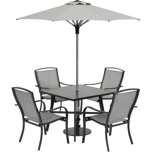 "Hanover Foxhill 5 Piece Dining Set - 4 Sling Dining Chairs, 30"" Sq Slat Table, Umbrella & Base FOXDN5PCS-G-SU"