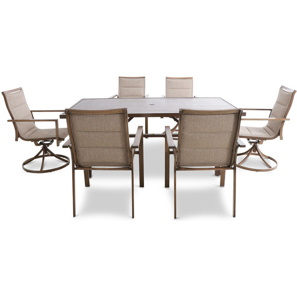 """Mod Furniture Atlas 7 Piece Dining Set - 4 Padded Sling Chairs, 2 Swvl Chairs, 74""""X40"""" Table ATLASDN7PCSW2-TAN"""