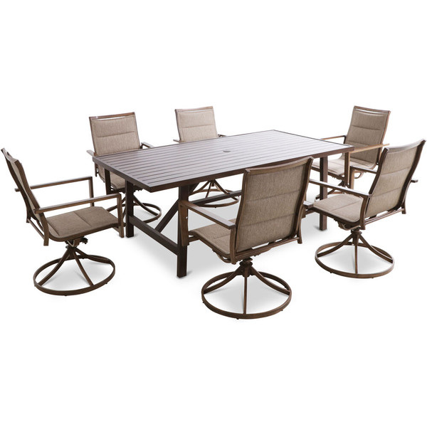 """Mod Furniture Atlas 7 Piece Dining Set - 6 Swivel Padded Chairs And 74""""X40"""" Tressle Table ATLASDN7PCSW6-TAN"""