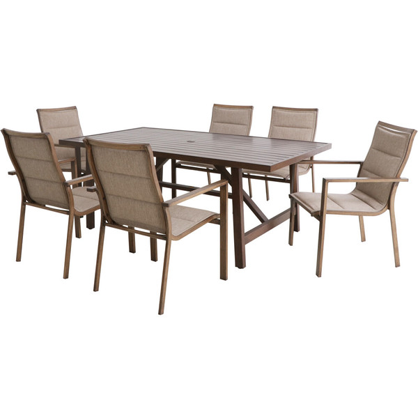 """Mod Furniture Atlas 7 Piece Dining Set - 6 Padded Sling Chairs And 74""""X40"""" Tressle Table ATLASDN7PC-TAN"""