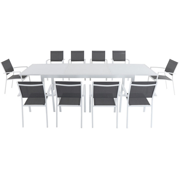Mod Furniture 11 Piece Dining Set - 10 Aluminum Chairs And 1 Extension Table HARPDN11PC-WHT