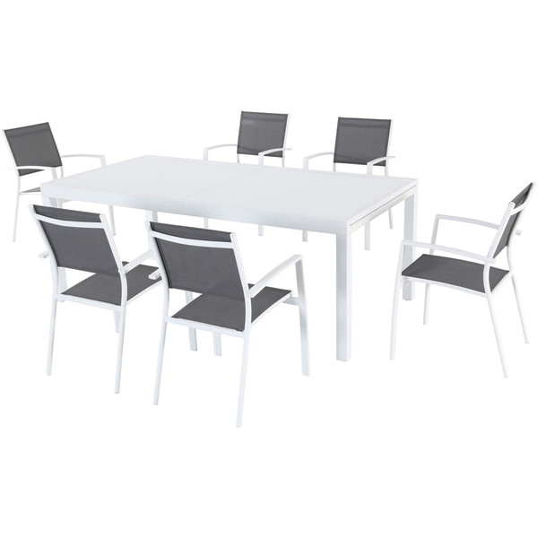 Mod Furniture 7 Piece Dining Set - 6 Aluminum Chairs And 1 Extension Table HARPDN7PC-WHT