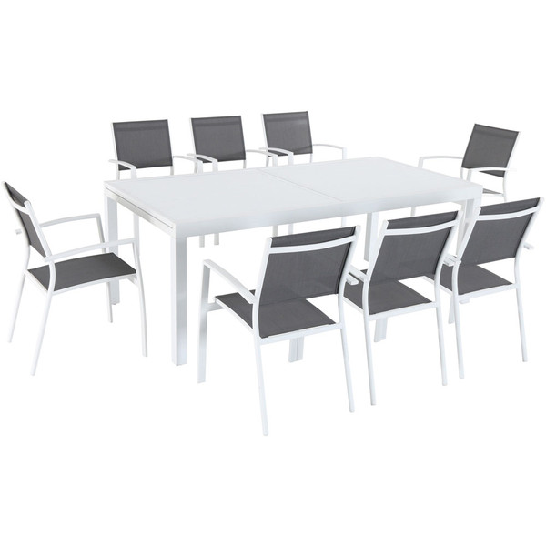 Mod Furniture 9 Piece Dining Set - 8 Aluminum Chairs And 1 Extension Table HARPDN9PC-WHT